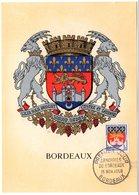 HERALDIQUE = 33 BORDEAUX 1958 = CARTE MAXIMUM  N° 1183 ARMOIRIES - Maximum Cards
