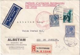 PAYS-BAS 1937 PLI AERIEN RRECOMMANDE DE S'GRANVEHAGE POUR RIO DEUTSCHE LUFPOST EUROPA-SÜDAMERIKA - Brieven En Documenten