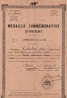 BREVET DIPLOME MEDAILLE COMMEMORATIVE D ORIENT  1931 CAPITAINE 345 RAL ARTILLERIE LOURDE - 1914-18