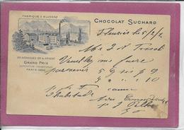CARTE POSTALE PUBLICITE CHOCOLAT  SUCHARD .- FABRIQUE à BLUDENZ  Postée De FLEURIER  En 1902 - Switzerland
