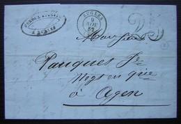 Rugles (Eure) 1852 Lettre Non Affranchie, Taxéee 25 De Auguste Duroux Pour Agen (Lot Et Garonne) - 1849-1876: Période Classique