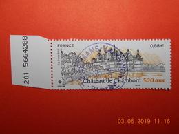 FRANCE 2019   CHATEAU DE CHAMBORD   Beau Cachet  Rond Sur Timbre Neuf  NUMEROTE - France