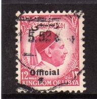 UNITED KINGDOM OF LIBYA REGNO UNITO DI LIBIA 1952 SERVIZIO SERVICE OFFICIAL RE IDRISS KING  MILLS 8m USATO USED OBLITERE - Libië