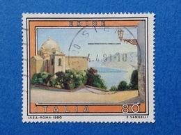 1980 ITALIA FRANCOBOLLO USATO STAMP USED TURISTICA ERICE - 6. 1946-.. Repubblica