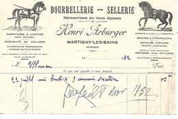 Facture 1/2 Format 1932 / 88 Martigny-Les-Bains / H. ARBUGER / Bourrellerie- Sellerie, Harnais Chevaux - France