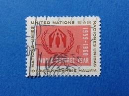 1959 NAZIONI UNITE UNITED NATIONS WORLD REFUGEE ANNO DEL RIFUGIATO FRANCOBOLLO USATO STAMP USED - New-York - Siège De L'ONU
