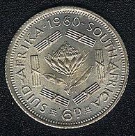 Südafrika, 6 Pence 1960, Silber, UNC - Südafrika