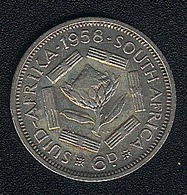 Südafrika, 6 Pence 1958, Silber - Südafrika