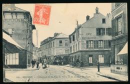 POISSY (78, Yvelines) : Carrefour De La Rue De Paris Et De La Rue Au Pain (circulée, 1918), 2 Scans, Pour Le Mans - Poissy