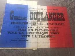 AFFICHE ELECTORALE 27 JANVIER 1889 / GENERAL BOULANGER - Posters