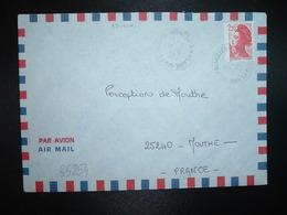LETTRE TP LIBERTE 2,20 OBL. VARIETE 17-5 1989 974 PLAINE DES PALMISTES REUNION - Marcophilie (Lettres)