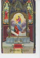 """PAQUES - Jolie Carte Fantaisie Avec Dorures Intérieur Choeur Eglise De """"Joyeuses Pâques"""" - Rokat 937 - Ostern"""