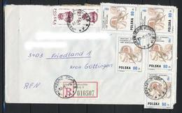 Polen, MiNr. 2986 (2x) + 3212 (5x) Auf Brief / Einschreiben Aus Jastrzeble Nach Deutschland; E-45 - 1944-.... Republik