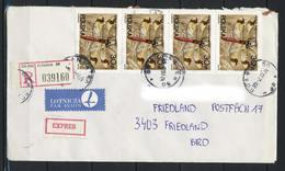 Polen, MiNr. 3134 + 3138 (10x) Auf Brief / Einschreiben / Express Aus Gdansk Nach Deutschland; E-48 - 1944-.... Republik