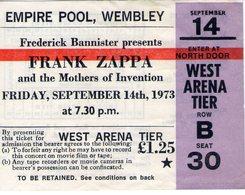 1973 FRANK ZAPPA MOTHERS OF INVENTION TICKET STUB BIGLIETTO WEMBLEY EMPIRE POOL  LONDON LONDRA CONCERTO CONCERT ROCK POP - Concerttickets