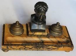 Ancien Encrier Marbre Et Bronze Empire Napoleon 1er - Brons