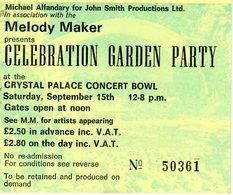 1973 CRYSTAL PALACE CELEBRATION GARDEN PARTY JAMES TAYLOR LOU REED - Concerttickets