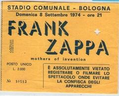 1974 FRANK ZAPPA MOTHERS OF INVENTION TICKET STUB BIGLIETTO BOLOGNA STADIO CONCERTO CONCERT ROCK POP - Concert Tickets