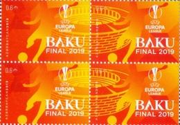 2019 UEFA Europa League Final. Azerbaijan Stamps. Together To BAKU 4 STAMPS - Azerbeidzjan