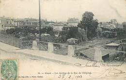 CPA 33 Gironde BLAYE Les Jardins De La Rue De L'Hopital VOIE FERREE TRAIN 1903 - Blaye