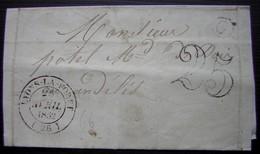 Lyons La Forêt (Eure) 1852 Lettre Taxée Boîte Rurale G - Postmark Collection (Covers)