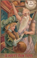 NEW YEAR , Father Time & Woman In Trolley Car , 1910 , 00-10s - New Year