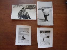 4 Photos D'un Enfant Faisant Du Ski, Luge Dans Les Alpes (Céüse, Montgenèvre, Col Bayard) Et Ses Parents - 1958 - Personnes Anonymes