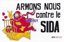 """CPSM 9X14  """"  ARMONS NOUS CONTRE Le SIDA """" - CARTE AUTOCOLLANTE - Santé"""