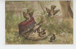 """GUERRE 1914-18 - Jolie Carte Fantaisie Patriotique Oiseaux Abrités Sous Le Képi D'un Poilu """"LE NID FRANÇAIS"""" - Guerra 1914-18"""