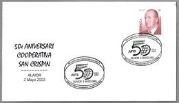 Matasellos 50 Años COOPERATIVA SAN CRISPIN. Alaior, Baleares, 2003 - 1931-Hoy: 2ª República - ... Juan Carlos I