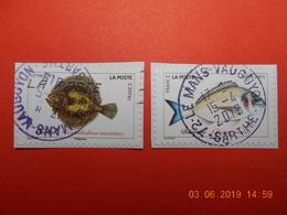 FRANCE 2018  CL090  Du Carnet  POISSONS DE MER   (2 Timbres) Beaux Cachets Ronds (A Voyagé) - France