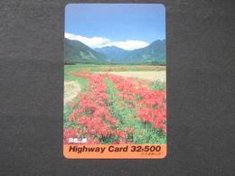 JAPAN HIGHWAY PREPAIDCARD Y 32.500 - Flowers - Giappone