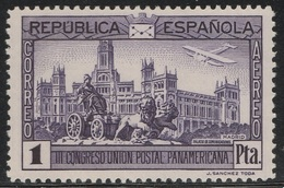 Spain 1931 - Sc C66, 1p, Deep Violet - Madrid Post Office & Cibeles Fountain - MVVLH - Airmail