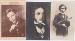 Bt - Lot De 5 Cpa Violonistes : KUBELIK, PAGANINI, YSAYE, SPALDING - Cantanti E Musicisti