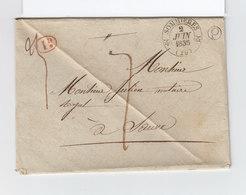 Sur Env. Pour Sauve Gard CAD Type 12 Sommières Juin 1835. Boîte Rurale Q. 1 Décime Rurale Rouge. Taxe Manuscrite. (2335x - 1801-1848: Précurseurs XIX