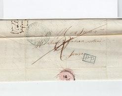 Sur LAC Pour Sauve Gard CAD Type 12 Bleu St Hippolyte Du Fort 1832. Cachet PP Bleu. Taxe Manuscrite. (2336x) - 1801-1848: Précurseurs XIX