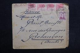 ESPAGNE - Enveloppe De Cambio Pour La France En 1939 Avec Censure , Vignette Au Verso De La Croix Rouge - L 30898 - Marcas De Censura Nacional
