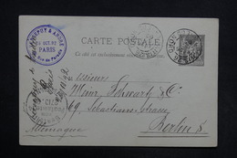 FRANCE - Entier Postal Type Sage De Paris Pour Berlin En 1892 - L 30901 - Entiers Postaux
