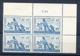 France 1944 - Bloc De 4 **  Coin Daté ( UM) Vignette Oeuvres De Solidarité Française - Commemorative Labels