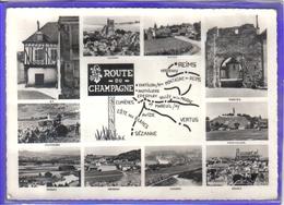 Carte Postale Géographique Département 51. La Marne Route Du Champagne  Reims Epernay  Chatillon Avize Vertus Verzenay - Landkarten