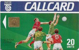Ireland - Eircom - Gaelic Football - 20Units, Chip GEM1A Symmetric Black, 05.1991, 20.000ex, Used - Irlande
