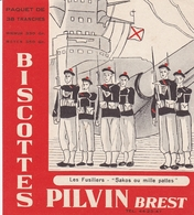 BUVARD BISCOTTES PILVIN BREST FINISTERE COLLECTION MARINE LES FUSILIERS SAKOS OU MILLE PATTES - Biscottes