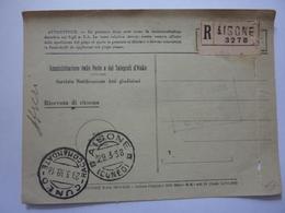 "Cartolina Postale Viaggiata  Da Aisone A Cuneo ""RICEVUTA DI RITORNO"" 1938 - 1900-44 Vittorio Emanuele III"