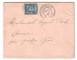 1900 - BELLE OBLITERATION TYPE FACTEUR-BOITIER De VENDARGUES (HERAULT) Sur LETTRE AFFRANCHIE SAGE 15c Pour LE GARD - Marcophilie (Lettres)