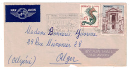 1960 - LETTRE PAR AVION De MONACO Pour ALGER ALGERIE OMEC SECAP Du MUSEE OCEANOGRAPHIQUE 50 ANS - Monaco