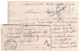 1857 - BOITE RURALE L De ST SAINT JULIEN (EURE) Sur LETTRE LAC CAD T14 De GAILLON Avec TAXE MANUSCRITE 25 - Marcofilia (sobres)