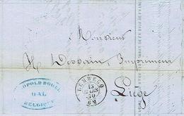 LAC Non Affranchie Oblit. Double Cercle LEMBECQ 15.3.1870 > LIEGE - Cachet Privé + Entête LEOPOLD ROGER Papeteries à HAL - Autres