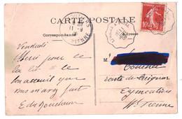 """1909 - CACHET ONDULÉ AMBULANT CONVOYEUR """" LIMOGES À USSEL """" Sur CP SEMEUSE 10c Pour EYMOUTIERS VIENNE - Marcofilie (Brieven)"""