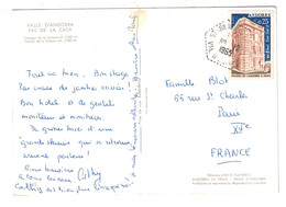 1965 - TIMBRE N° 174 SEUL Sur CP Pour PARIS FRANCE CACHET HEXAGONAL POINTILLÉS De ST JULIEN DE LORIA VAL D'ANDORRE - Storia Postale