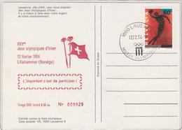 Quand Les Mouettes Pleurent - Oblit.spécial Lillehammer 1994       (A-77-170701) - Juegos Olímpicos